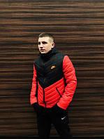 Куртка зимняя теплая мужская качественная черно-оранжевая Transformer