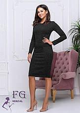 Тепле офісне плаття по фігурі до колін ангора хакі меланж, фото 2