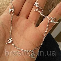 Серебряная цепочка с подвесками в виде птиц, фото 3