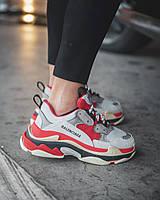 Женские кроссовки в стиле Balenciaga Triple S Red Grey (Люкс качество, Италия)