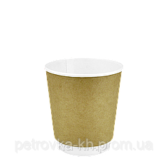 "Бумажный стакан двухслойный Крафт 250мл. Евро 30шт/уп (1ящ/28уп/840шт) под крышку КВ79/""РОМБ"" 79"
