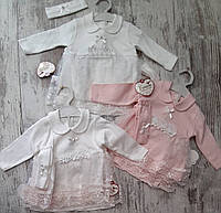 Костюм для малышек оптом 3-12 месяцев белый