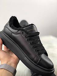 Женские кроссовки зимние Alexander McQueen (мех) (черные)