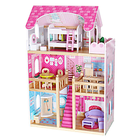 Кукольный домик деревянный с мебелью