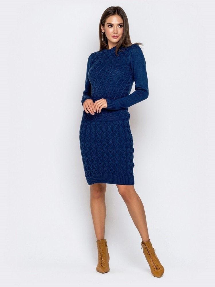 Однотонное зимнее платье р 44-54 синий