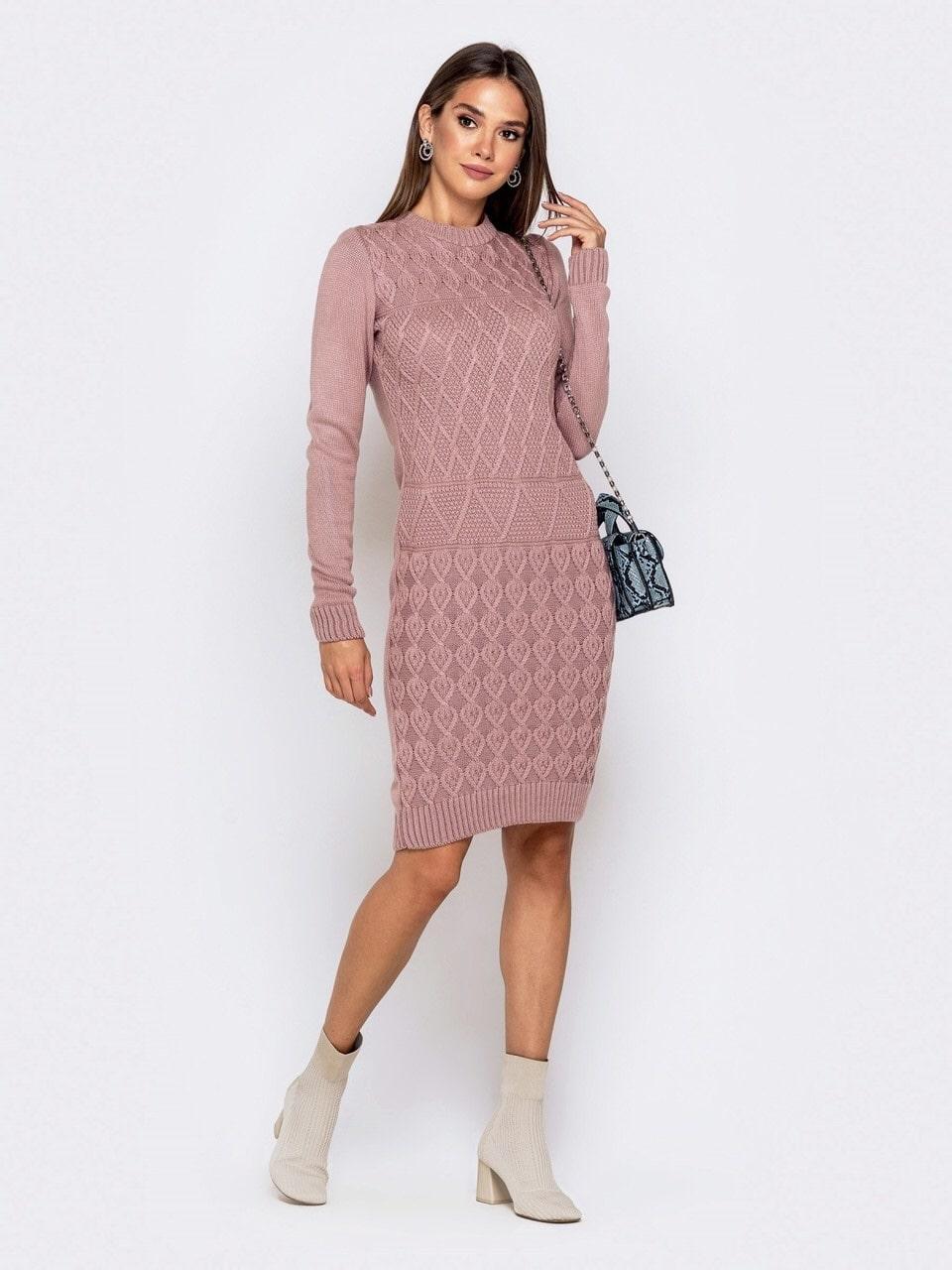 Однотонное осеннее платье р 44-54 пудра