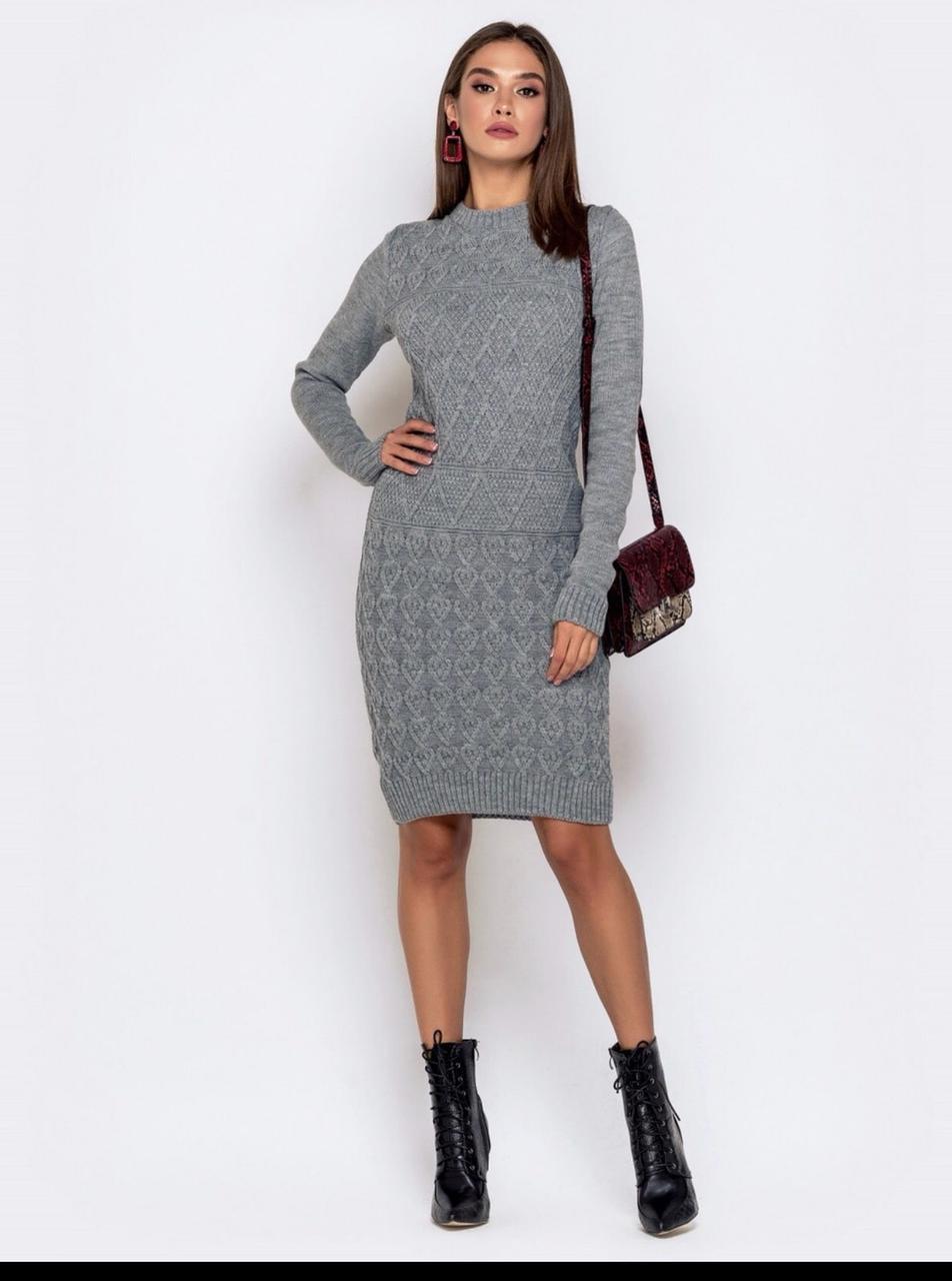 Нарядное осеннее платье р 44-54 серый