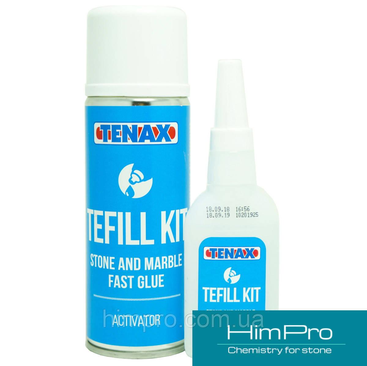TEFILL KIT Tenax цианоакрилатовый клей с отвердителем (бесцветный 50mm + 200mm)