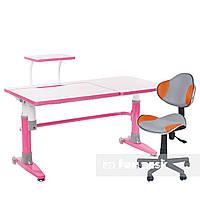 Комплект парта Ballare Pink + детское кресло LST3 Orange-Grey FunDesk