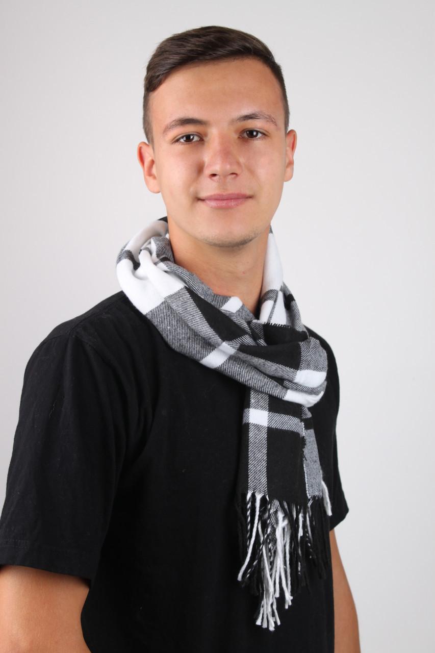 Мужские шарфы FAMO Шарф Алекс белый+черный 169*30 (MS-01) #L/A