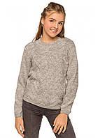 1549сер Вязаный джемпер девочке Жаклин серый тм TASHKAN размер 128,140,152