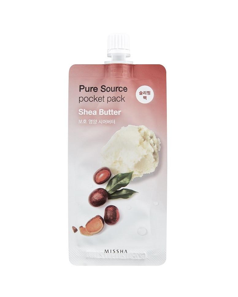 Ночная маска для лица Missha Pure Source Pocket Pack Shea Butter (масло ши)