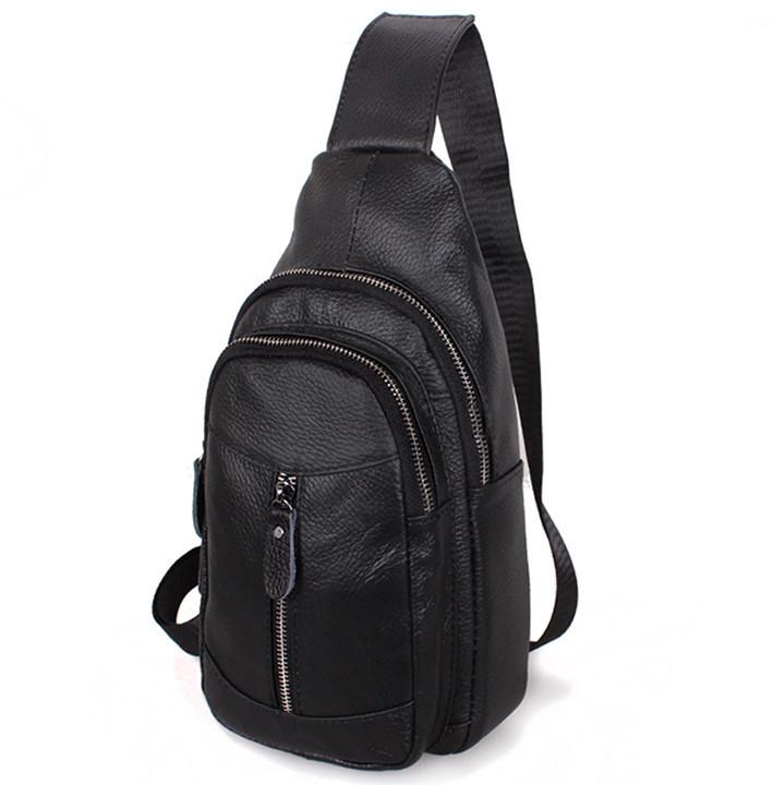 Кожаная сумка мужская через плечо рюкзак городской из кожи косуха барсетка черная кожа BON318-1