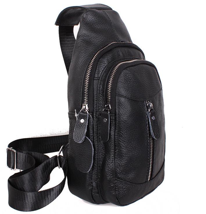 Кожаная сумка мужская через плечо рюкзак городской из кожи косуха барсетка черная кожа 8BON318-1 Польша