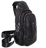 Кожаная сумка мужская через плечо рюкзак городской из кожи косуха барсетка черная кожа BON318-1, фото 2