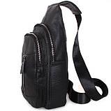 Кожаная сумка мужская через плечо рюкзак городской из кожи косуха барсетка черная кожа BON318-1, фото 3