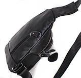 Кожаная сумка мужская через плечо рюкзак городской из кожи косуха барсетка черная кожа BON318-1, фото 4