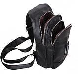 Кожаная сумка мужская через плечо рюкзак городской из кожи косуха барсетка черная кожа BON318-1, фото 5