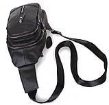 Кожаная сумка мужская через плечо рюкзак городской из кожи косуха барсетка черная кожа BON318-1, фото 6