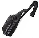 Кожаная сумка мужская через плечо рюкзак городской из кожи косуха барсетка черная кожа BON318-1, фото 7
