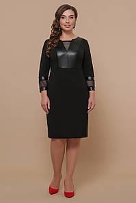 Женское приталенное платье с отделкой из эко-кожи