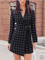 Женское черное платье-пиджак на запах в клетку, офисное 44-46, фото 1