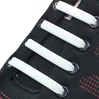 Силиконовые шнурки (Белые)  для детей и подростков 16 шт. Білі силіконові шнурівки