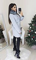 Пальто с  мехом на зиму серого цвета 42,44,46 р-р.