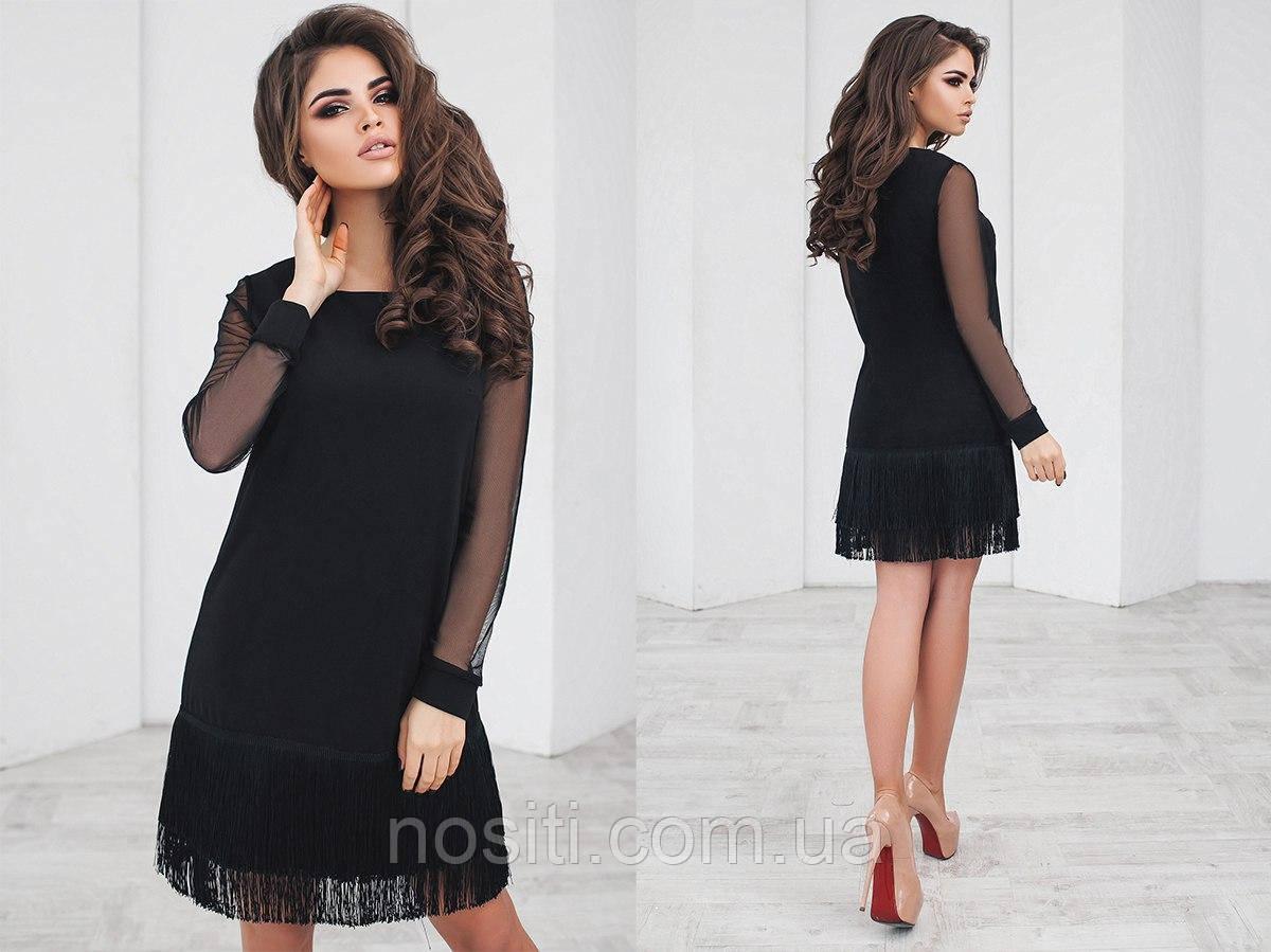 Платье с руквом из сетки