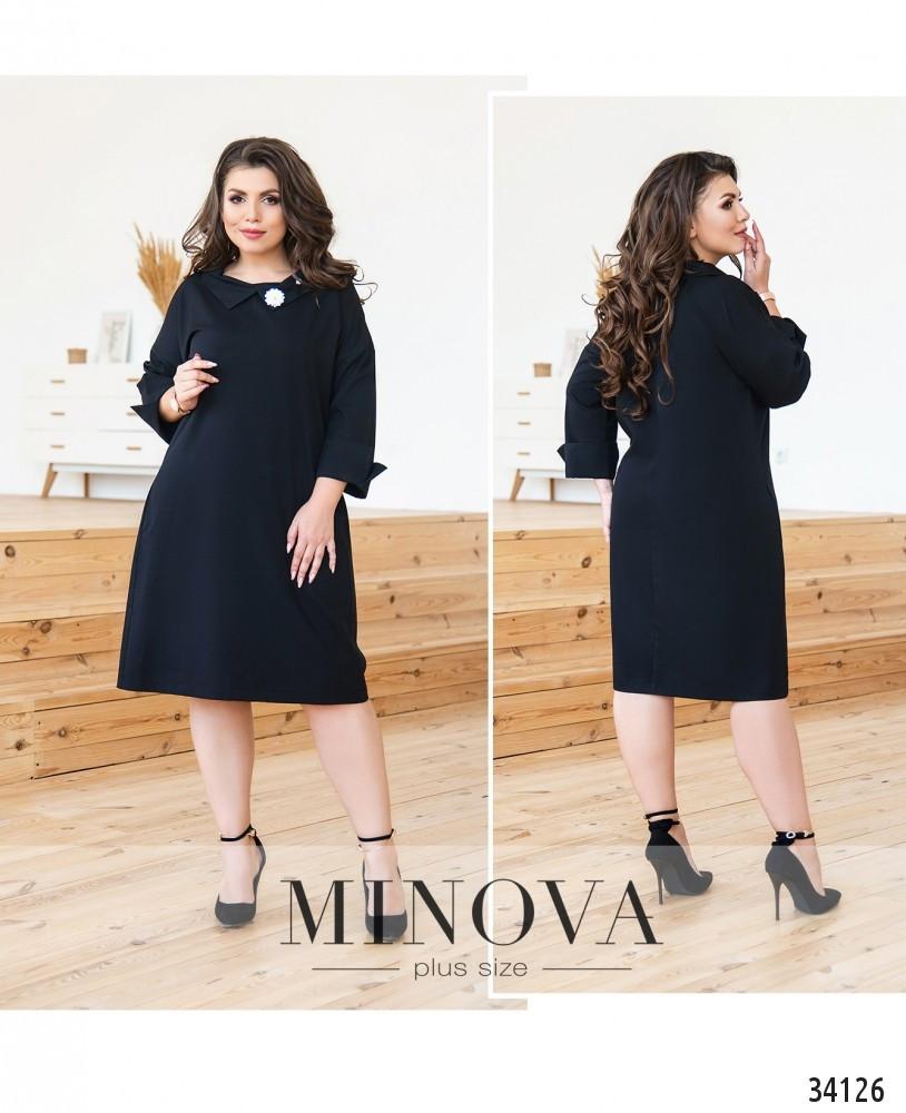 Чорне плаття великого розміру №135черный Розміри 50,52,54,56
