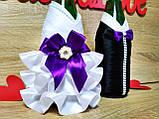 Украшение на свадебное шампанское Жених и Невеста Stile. Цвет фиолетовый., фото 2