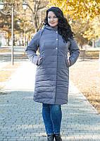 Женское зимнее пальто из плащевой ткани на синтепоне / размер 50,52,54,56,58,60 / цвет серый