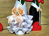 Украшение на свадебное шампанское Жених и Невеста Stile. Цвет персиковый., фото 2