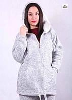 Кофта женская серая теплая с капюшоном из трехнитки р. 42-54
