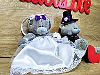 Украшение на свадебную машину Мишки Тэдди. Цвет филетовый. Цена за пару.