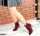 Демисезонные женские ботильоны цвета марсала, натуральная замша, фото 3