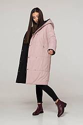 Двусторонняя стеганая зимная женская куртка / пуховик чорний-розовий размер 42 44 46 48 50 52 54 56 58