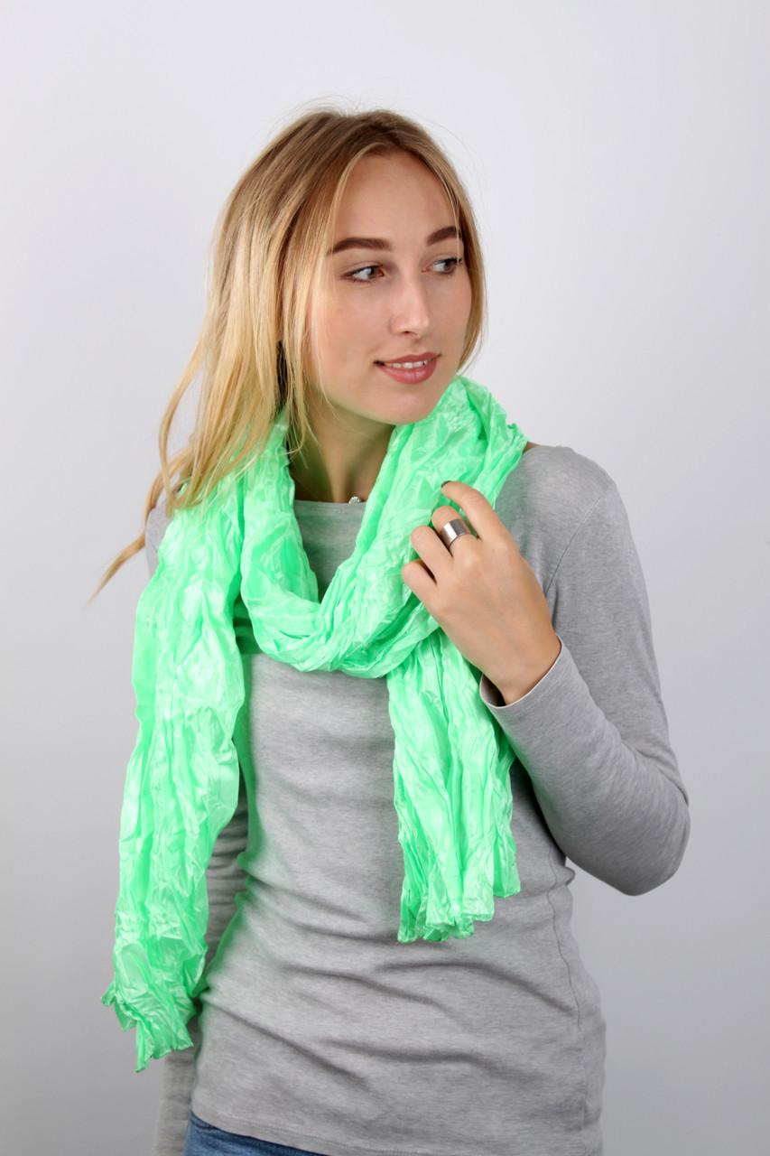 Шарф FAMO Косичка однотонный светло-зеленый 170*50 (258-1) #L/A
