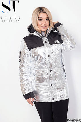 Серебристая куртка с вставками, фото 2