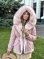 Розовая куртка парка с натуральным мехом белой арктической лисы на капюшоне, фото 1