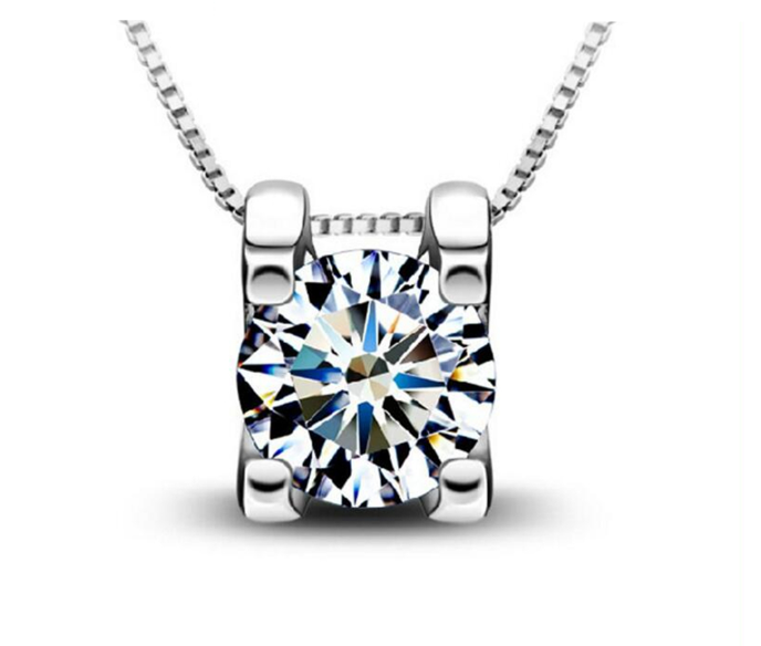 Серебряный кулон женский кулончик с белым ярким камнем стерлинговое серебро 925 проба