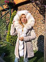 Молочная куртка парка с натуральным мехом арктической лисы на капюшоне, фото 1