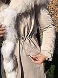Молочная куртка парка с натуральным мехом арктической лисы на капюшоне, фото 2
