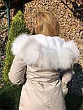Молочна куртка парку з натуральним хутром арктичної лисиці на капюшоні, фото 3
