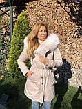 Молочная куртка парка с натуральным мехом арктической лисы на капюшоне, фото 4