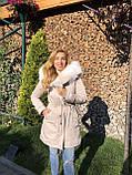 Молочная куртка парка с натуральным мехом арктической лисы на капюшоне, фото 5