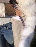 Молочная куртка парка с натуральным мехом арктической лисы на капюшоне, фото 8