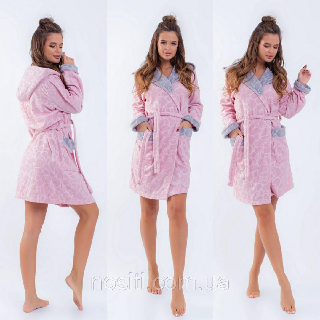 Женский короткий теплый халат батал