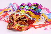 Маска венецианская карнавальная модель №2 на завязках, в упаковке 6 расцветок по 2 штуки, 12 штук