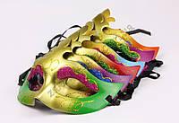 Маска венецианская карнавальная модель №1 на завязках, в упаковке 6 расцветок по 2 штуки